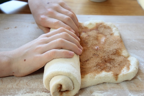 Roll the cinnamon dough